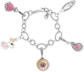 product image for Carolyn Pollack Sterling Silver Pink Rhodonite and Yellow Mother of Pearl Gemstone 5 Charm Link Bracelet Size S, M and L