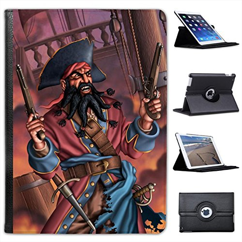 - Pirate Captain Blackbeard On Pirate Ship For Apple iPad Air 2 [2014 Version] Faux Leather Folio Presenter Case Cover Bag with Stand Capability