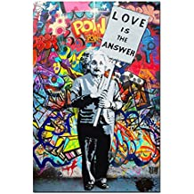 "DVQ ART - Framed Art Einstein ""Love is Answer"" Canvas Print Painting Colorful Figure Street Graffiti Wall Art Pics for Living Room Decor Ready to Hang 1 PCS (16x24inch(40x60cm))"