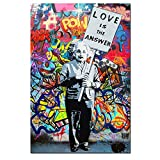 "DVQ Art Framed Art Einstein ""Love is Answer"" Canvas Print Painting Colorful Figure Street Graffiti Wall Art Pics for Living Room Decor Ready to Hang 1 PCS"
