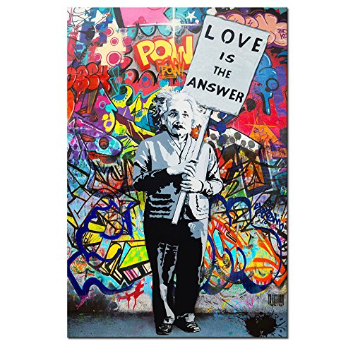 "Framed Banksy Art Einstein ""Love is Answer"" Canvas Print Painting Colorful Figure Street Graffiti Wall Art Pics for Living Room Decor Ready to Hang 1 PCS (16x24inch(40x60cm)) (Wall Art)"