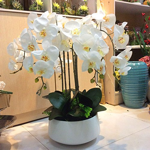 XHOPOS HOME Artificial Flowers Ceramic Vases Orchid laver contained White Real Touch Silk Flowers Home Wedding Party Living Room Decoration by XHOPOS HOME-Fake flowers