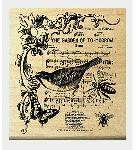 In The Garden of Tomorrow Collage rubber stamp P6