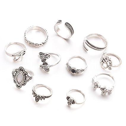gespout 11pz femenino de anillo anillo de acero inoxidable Estilo Vintage Juego de anillas elefante hoja de árbol accesorios decorativos de moda ...
