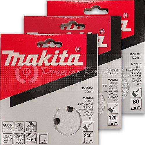 Makita 30 Piece - Multi Grit Sanding Disc Set For 5 Inch Random Orbit Sanders - For Wood, Metal & Plastic - 80, 120 & 240 Grit 8 Hole Hook-And-Loop Sandpaper