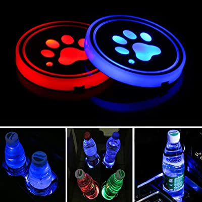 Lipctine Universal LED Car Cup Holder Lights Mats Pad Colorful Paw RGB Drink Coaster Accessories Interior Decoration Atmosphere Compatible for BMW Jeep Benz VW Audi Ford Chevrolet Dodge Honda Toyota: Automotive