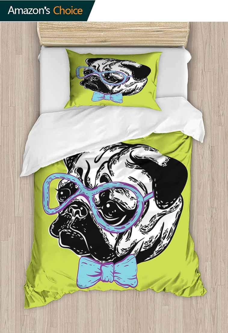 carmaxshome Pug Printed Quilt Cover and Pillowcase Set, Cute Dog with a Bow Tie and Nerdy Glasses on Green Shade Backdrop, Cool 3D Outer Space Bedding Digital Print - 2 Piece, 79 W x 90 L Inches