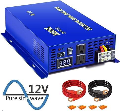 3000W 12V DC to 120V AC Pure Sine Wave Inverter Car//Home solar Power Inverter
