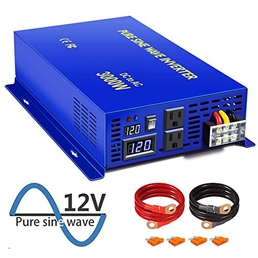 XYZ INVT 3000W Pure Sine Wave Power Inverter 12V DC to 120V AC