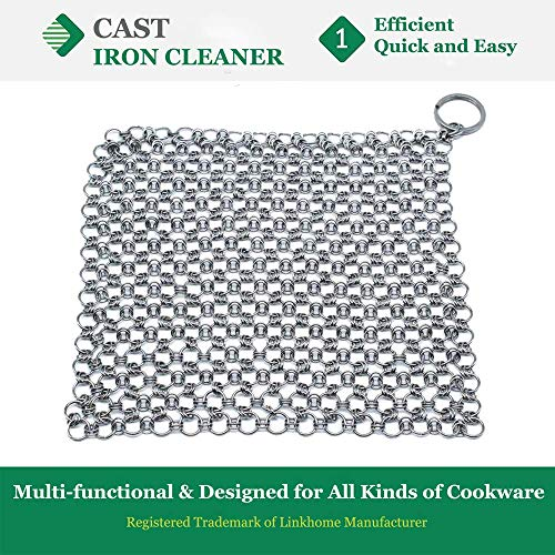Cast Iron Cleaner, 8 x 6 inch Cast Iron Scrubber, 316 Stainless Steel Chainmail Scrubber with Hanging Ring, Anti-Rust Cleaner for all Cookware