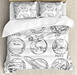 Full Size Doodle 3 PCS Duvet Cover Set, Planets of Solar System Sun Mercury Earth Moon Mars Neptune Saturn Jupiter Science, Bedding Set Quilt Bedspread for Children/Teens/Adults/Kids, Black White