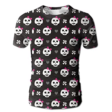 270a45f9 Egg Egg Men's Full Skull Girl Pink Bow Tie 3D Print T-Shirts Short Sleeve