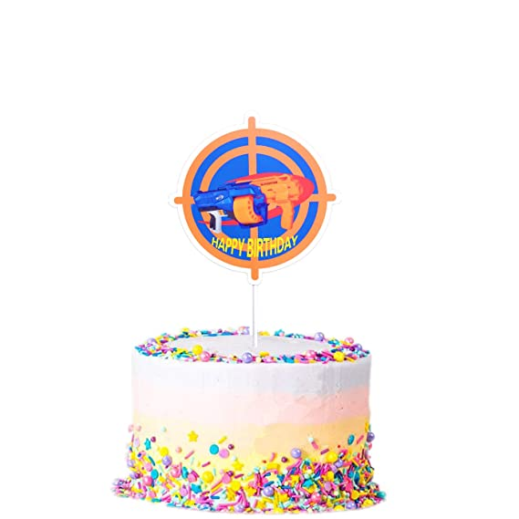 Super Cake Topper For Nerf Party Target Gun Happy Birthday Decorations Personalised Birthday Cards Veneteletsinfo
