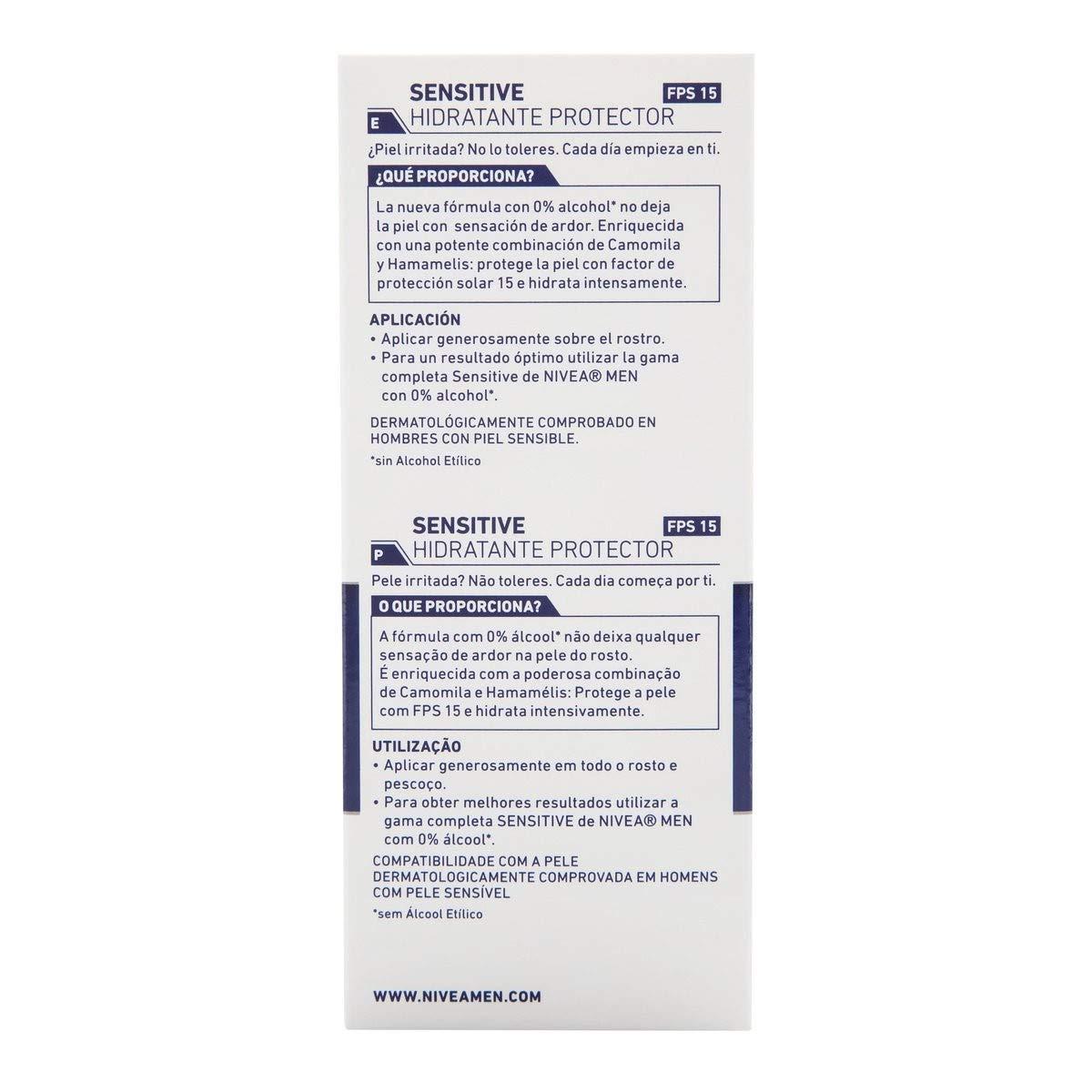 NIVEA MEN Sensitive Hidratante Protector FP15 en pack de 6 (6 x 75 ml),  crema facial hidratante con 0% alcohol para hombres con piel sensible, con