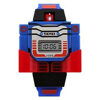 tonshen Kids Cartoon Digital LED relojes Sports transformación Robot Juguetes de los niños reloj, azul: Amazon.es: Relojes