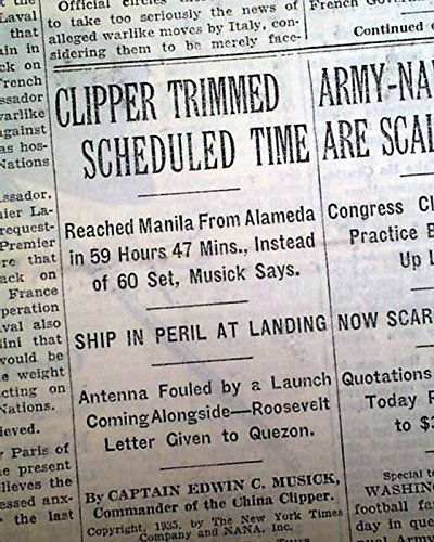 CHINA CLIPPER Very 1st Trans-Pacific Airmail AIRPLANE Flight Ends 1935 Newspaper THE NEW YORK TIMES, November 30, 1935
