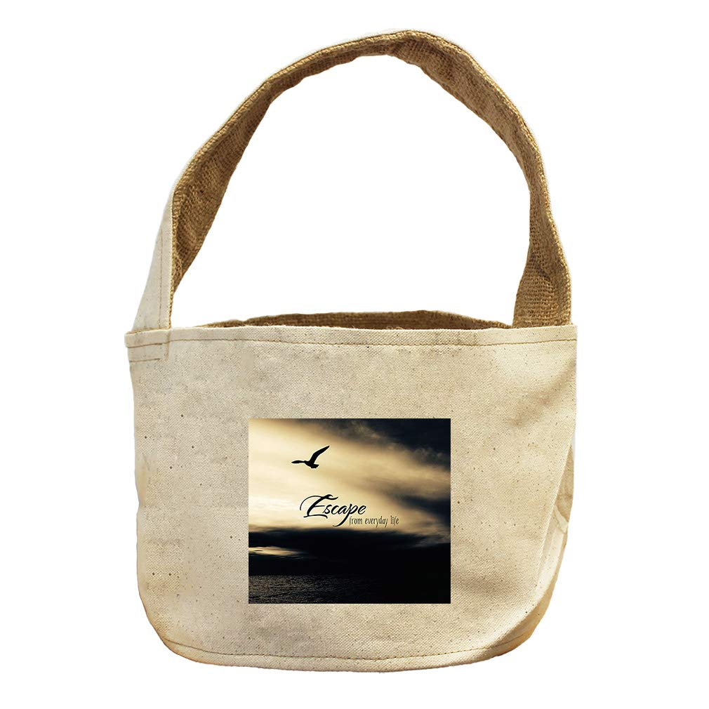 Style in Print Bird Escape from Everyday Life Canvas and Burlap Storage Basket