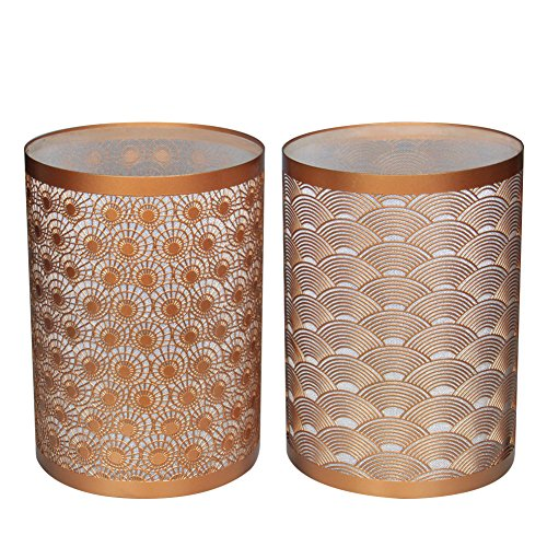Set of 2 Vintage Metal LED Decorative Candle Lanterns, Hurricane Home Lamp, Candle Holder for Romantic Dinner Candle light & Valentine's Day Candle Light Dinner, 2A Battery (Gold Hurricane Lamp)
