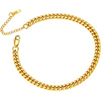 ChainsPro Anklet Chain for Women Men, Figaro/Wheat/Twist Rope/Cuban Foot Bracelet-Strong with Good Clasp-18K Gold Plated(Send Gift Box)