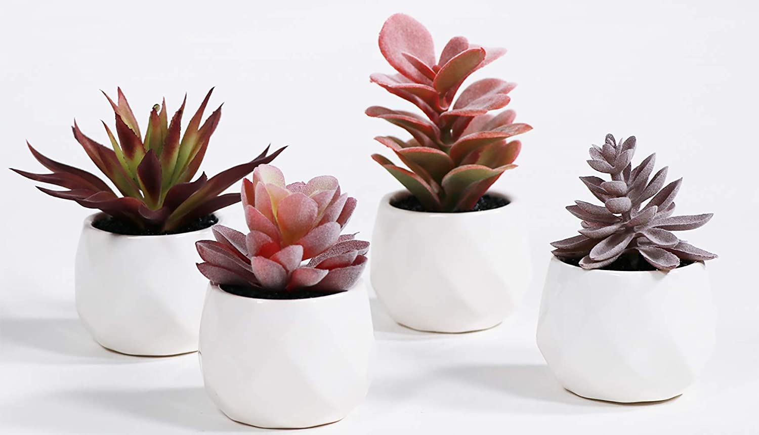 LITA Artificial Succulent Plants Fake Succulents Small Plants in White Ceramic Potted for Indoor Decor Office Room Desk Decoration4 Pots (Purple-2)