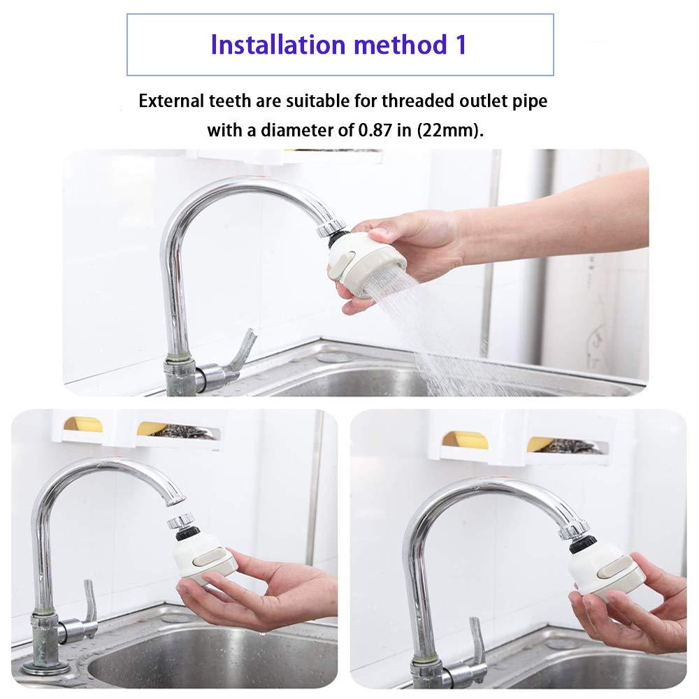 TRRUT Adjustable 360 Degrees Rotatable Faucet Supercharged Sprinkler Tap Transfer Interface Aerator Universal Adapter Lead Set,Kitchen Sink Accessories Tools Water Tap Head Splash Regulator