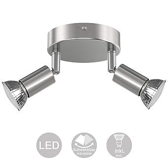 Creyer Orientable y Giratoria Foco LED Para Techo, Moderno Redondos Plafón 2 Focos, ø11cm (incl. 2 x 4W Bombillas LED GU10, 400LM, Equivalente a la ...