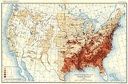 Amazoncom Usa Density Of Negro Population Us At 12th Census - Old-map-of-us
