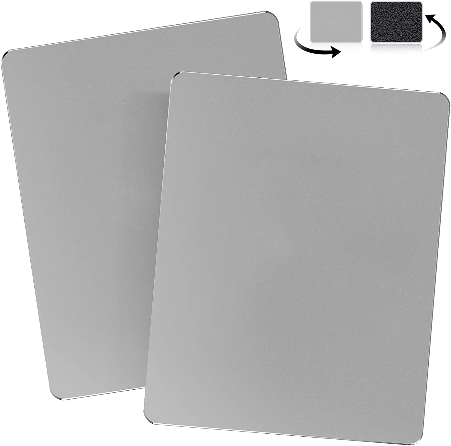 JEDIA 2 Packs Mouse Pad, Gray Premium Hard Metal Aluminum Mouse Pad, Ultra Smooth Double Side Waterproof Fast and Accurate Control Mousepad for Gaming, Office and Home, 9.4