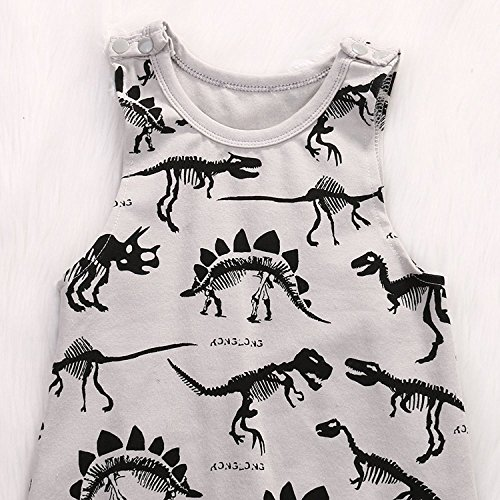 Summer Baby Boys Animal Printed Sleeveless Romper One-piece Bodysuit Jumpsuit Outfits Grey (100cm/12-18 Months)