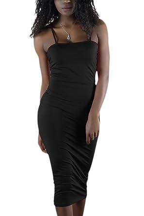 bcd10346c19 Les Femmes Bodycon Solide Groupe Été Fine Bretelle Club Midi Robe Black XS