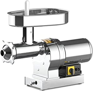 SuperHandy Meat Grinder Sausage Stuffer Electric #22 1 HP 840 LBS Per/Hour 750 Watts Heavy Duty Commercial Stainless Steel Body Cutlery Blade Tray Grinding Plates & Stuffing Tubes Stomper Storage Box