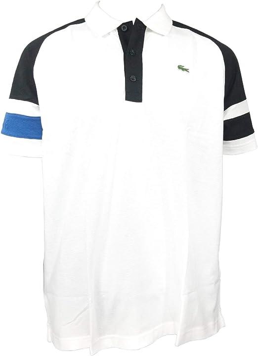 White Lacoste Sports Men/'s long sleeve Ultra Dry Crew Neck Polo Shirt 7//XXL