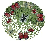 Xia Home Fashions Butterflies Embroidered Cutwork Spring Doilies, 8-Inch Round, Set of 4