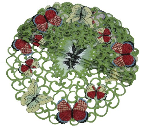tterflies Embroidered Cutwork Spring Doilies, 8-Inch Round, Set of 4 ()