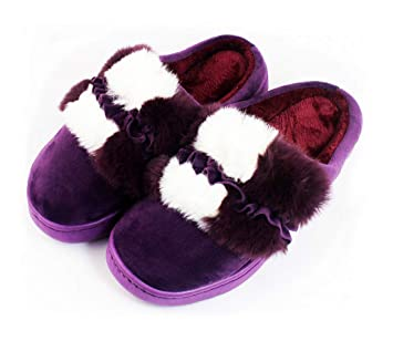 Zapatillas de Andar por Casa Talón Abierto con Borreguillo Forro Polar y Suela Ancha Antideslizante Tallas 36-41 Mujer (MORADO, 39): Amazon.es: Hogar