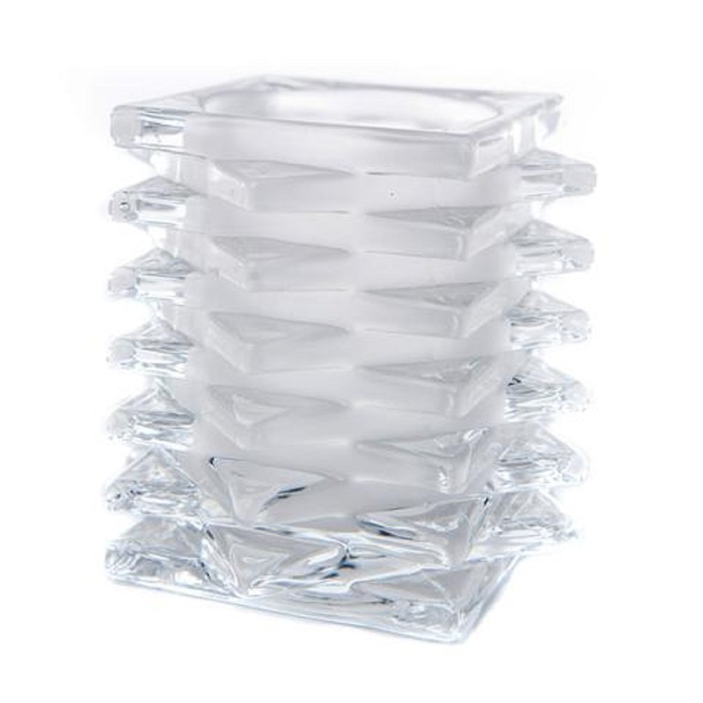 3.5x3.5x4 inches The Amazing Flameless Candle® Winter Christmas Holiday Stacked Glass Clear Candle Holder