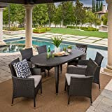 Vineland Outdoor Dining Set | 7 Piece | Grey Wicker | Oval Table | Perfect Patio Set for Backyard Deck or Poolside