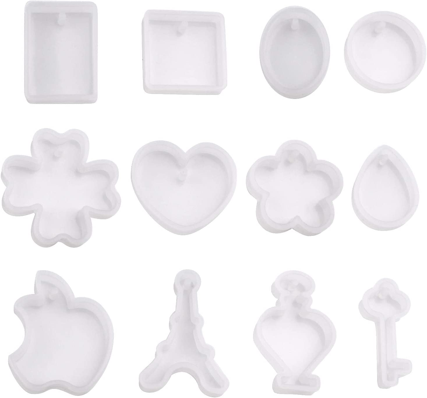 Resin Molds for Jewelry,12 Pieces Pendant Moulds with Hanging Hole Silicone Craft Making Moulds Collection in Shape Heart Drop Clover,12 Styles
