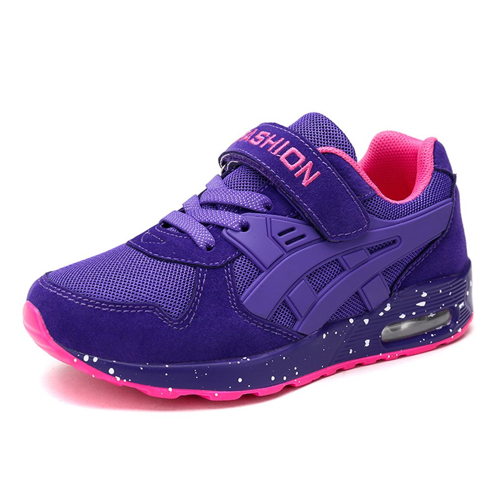 Z.SUO Boy's Girl's Casual Strap Light Weight Sneakers Running Shoes(Little Kid/Big Kid) (3.5 M US Big Kid, Purple)