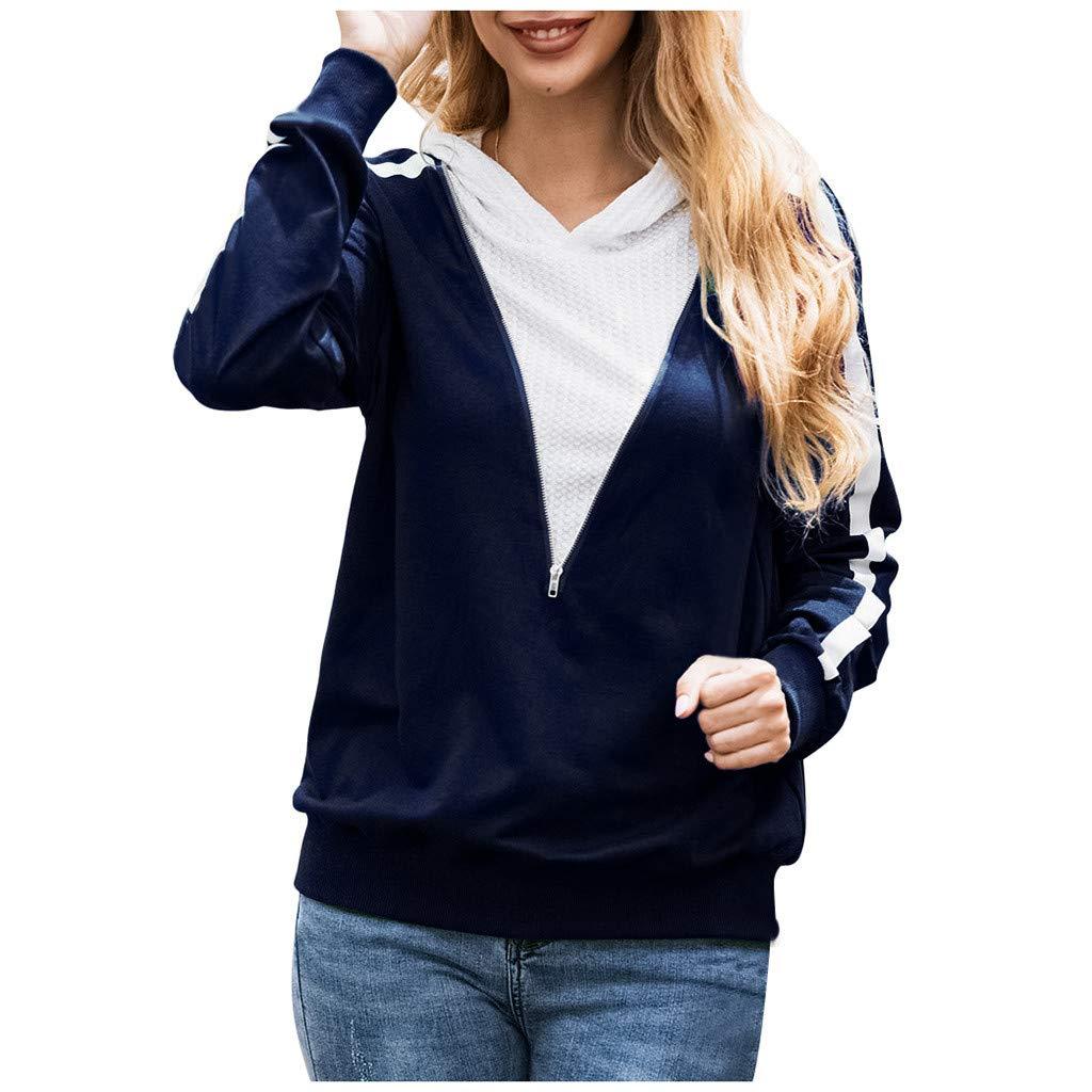 Women Casual Stitching Stripe Long Sleeve Half Zip Hoodie Sweatshirt Pullover Shirt Tops Blouse by HNTDG by HNTDG