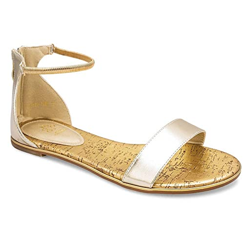 e6fb498ea8aa0 tresmode Women s Gold Flat Sandals with Gold Ankle Straps 3 UK India  (36