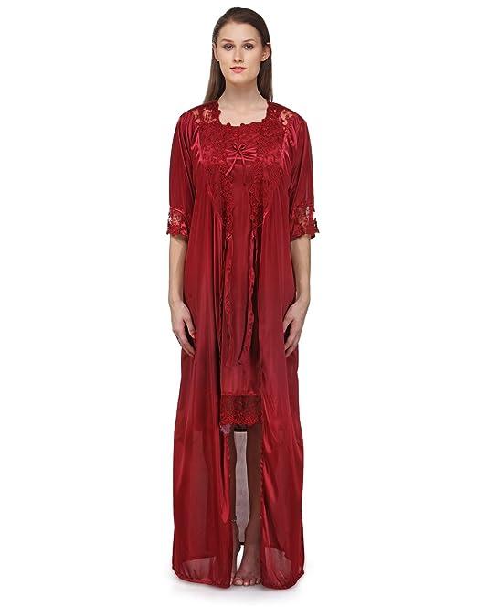 707e3b8886 Fashigo Women s Nightdress (Set)(FASNW074 Maroon Free Size)  Amazon ...