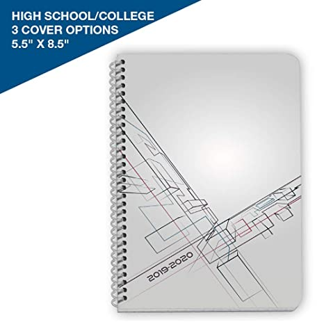 Dated High School or College Student Planner 2019-2020 Academic Year,  5 5x8 5 inch Block Style Datebook with Campus Perspective Cover