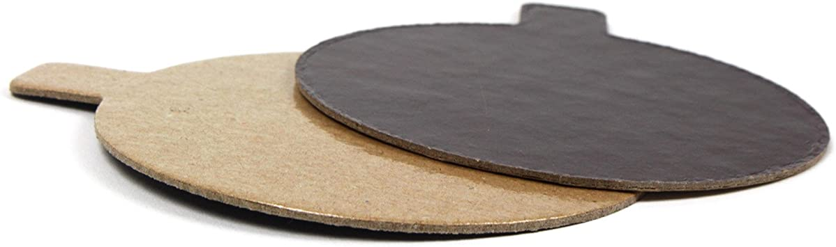 3-1//8 Inch Diameter Chocolate and Praline Round Pastry Board with Tab Pack of 200