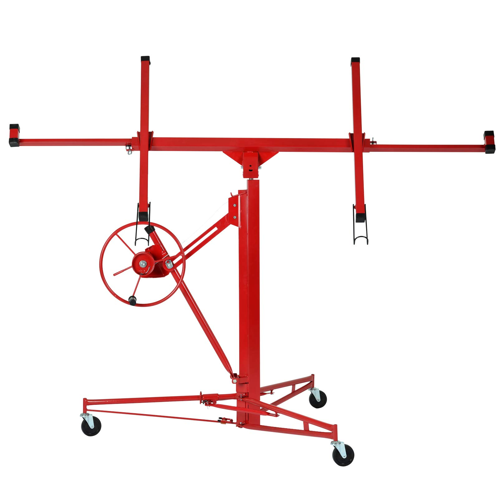 11' Drywall Lift Rolling Lifter Panel Dry Wall Hoist Jack Lockable Caster Wheels Construction Tool, 150Lbs, Red