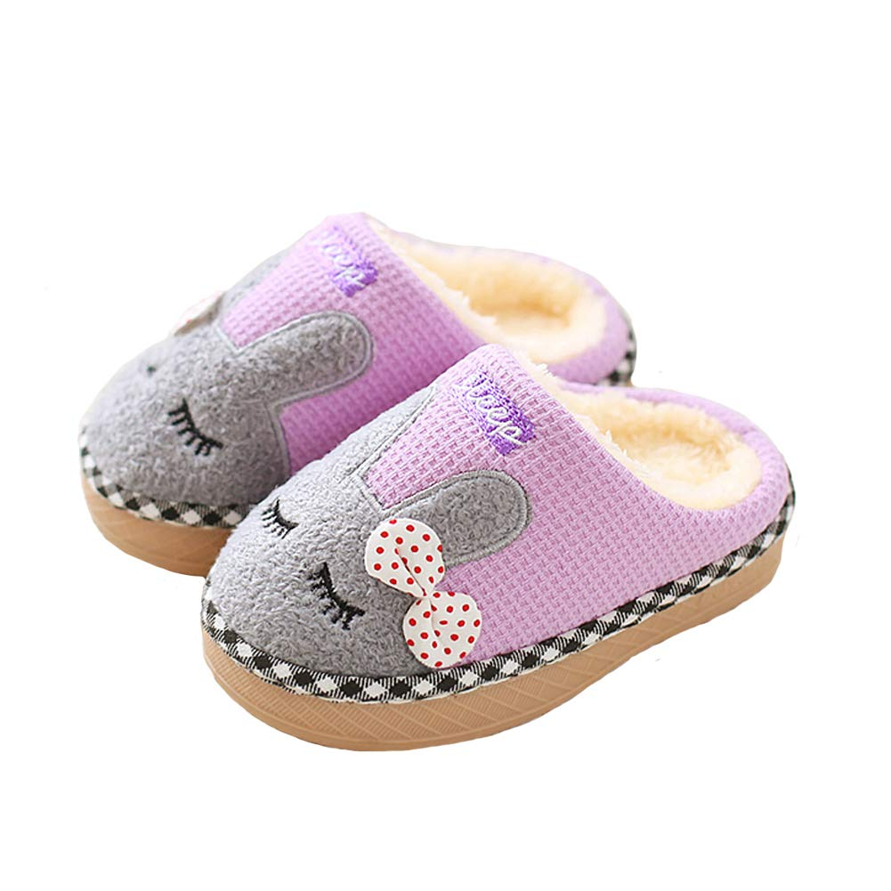 Aelph Comfy Cute Kids House Slippers Fur Lined Indoor Outdoor Winter Warm Slippers Boys Girls (Toddler/Little Kid) PRS0