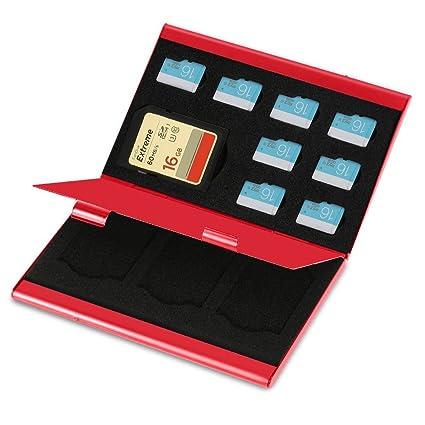 ZJchao funda de tarjeta de memoria de aluminio para Ranger y Organiser tarjeta Micro SD y TF tarjeta 9 x 6 x 1. 3 cm rojo QL-8PTFRE