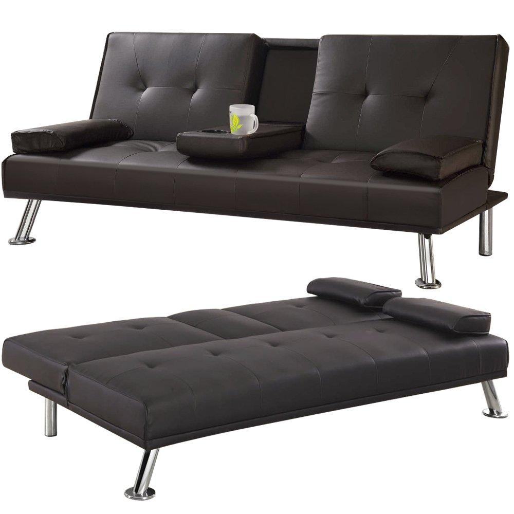 tinxs Piel sintética 3 plazas Grandes sofá Cama futón con ...