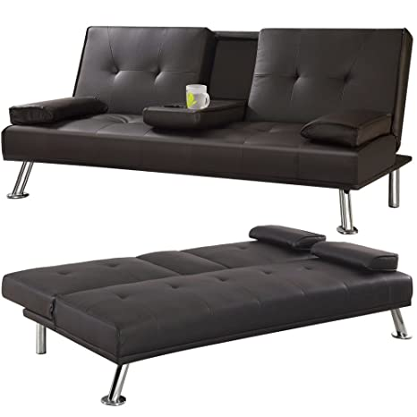 Fine Tinxs Veelar Cinema 3 Seater Sofa Bed Brown Faux Leather Interior Design Ideas Clesiryabchikinfo