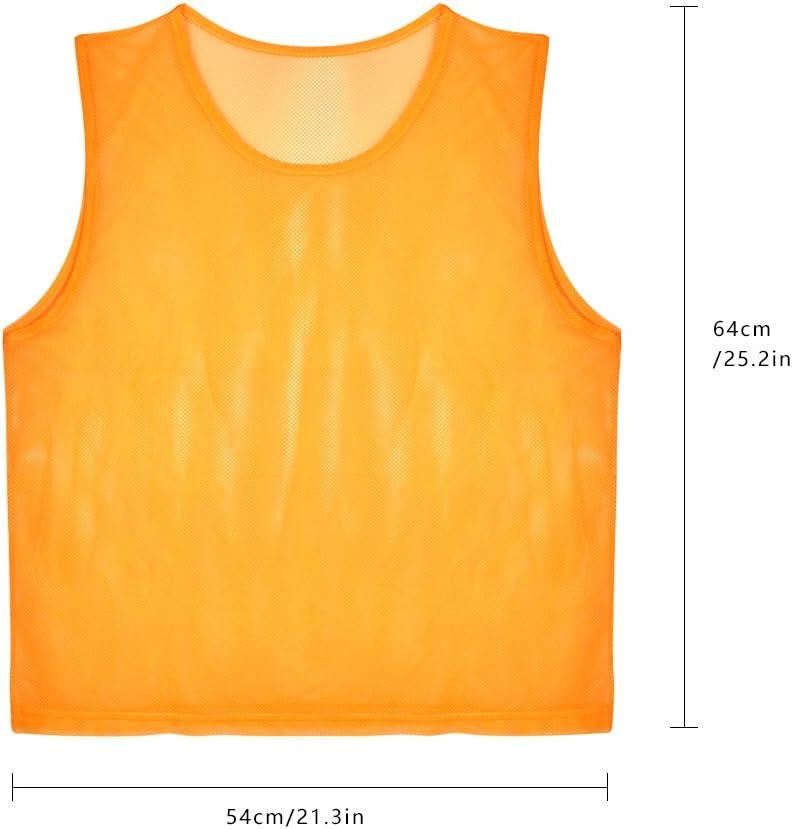 talla 64 x 54 cm Dilwe de poli/éster premium Chaleco de f/útbol para adultos transpirable color naranja